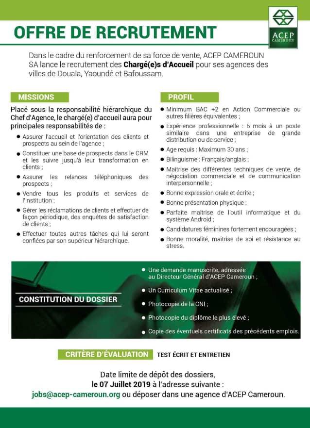 offre de recrutement de charg u00c9 e s d u0026 39 accueil chez acep  u00c0